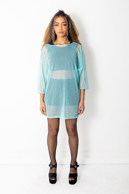 Sky Blue Batwing Mesh Dress