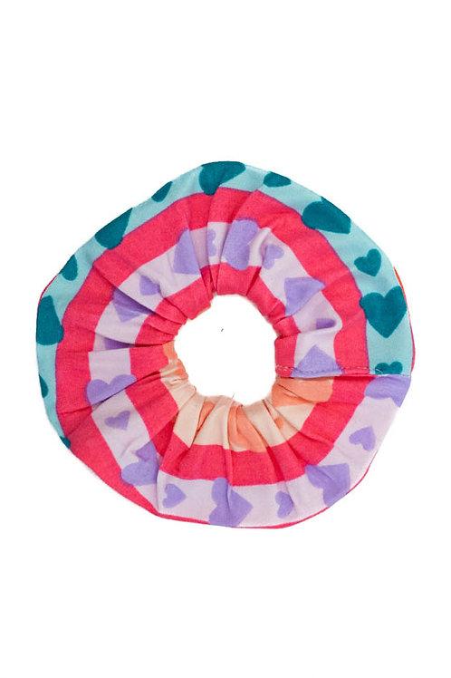 Pastel Rainbow Hearts Scrunchie