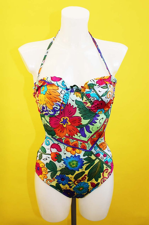 Floral Halter-neck Swimsuit