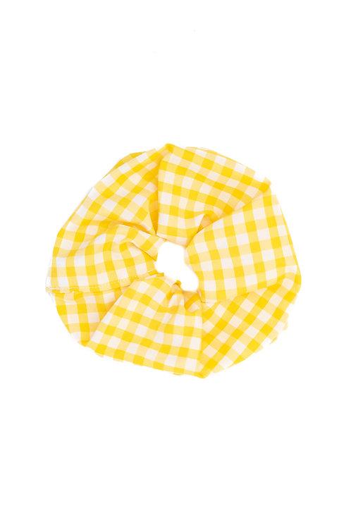 Medium-Scale Gingham Scrunchie Yellow