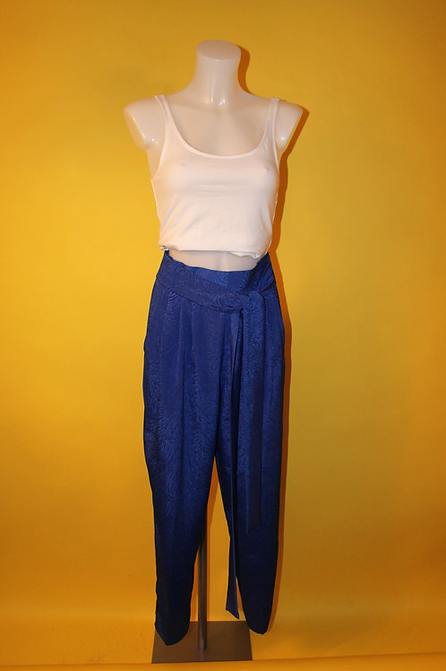 1980s Vintage Blue Patterned Trousers