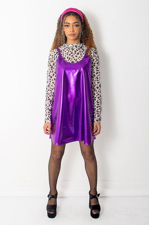 Metallic Purple Swing Dress