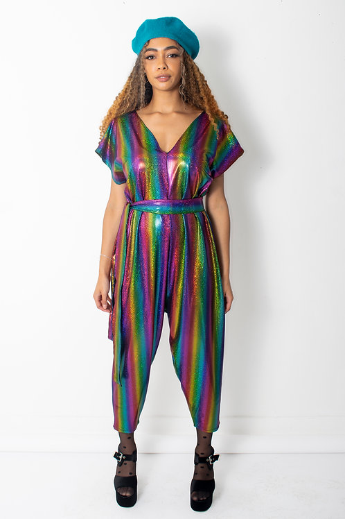 Rainbow Metallic Box Jumpsuit