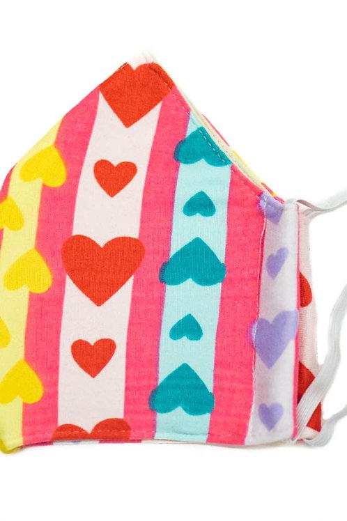 Pastel Rainbow Hearts Face Mask