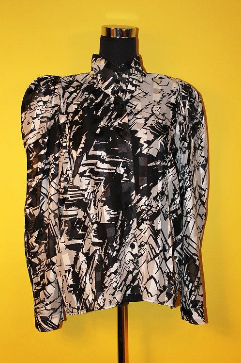 1980s Vintage Shoulder Padded Geometric Shirt