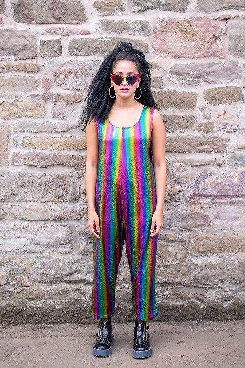Dreamland Metallic Rainbow Jumpsuit In Stripe