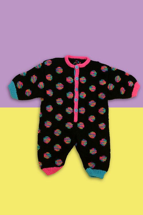Rainbow PolkaDot Knitted Baby Grow