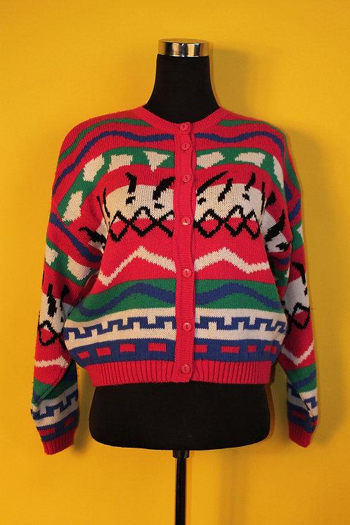 1980s Vintage Geometric Cardigan