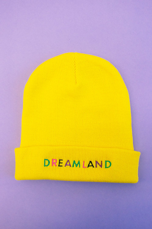 Sunshine Yellow Dreamland Embroidered Beanie