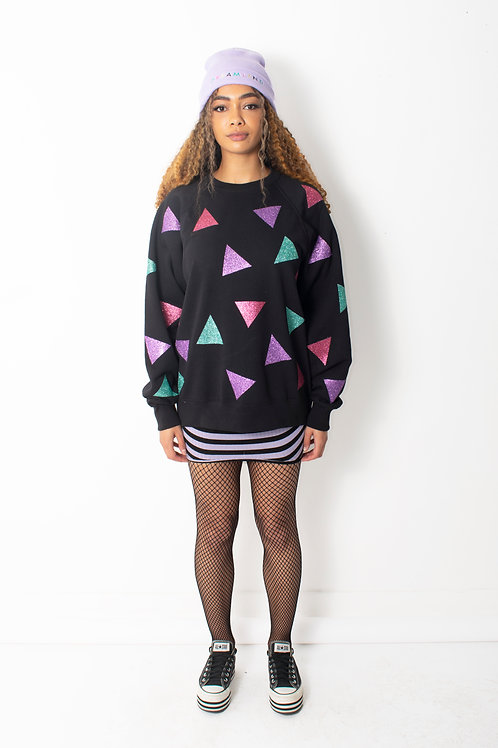 Glittery Triangle Patch Oversized Sweatshirt Dress