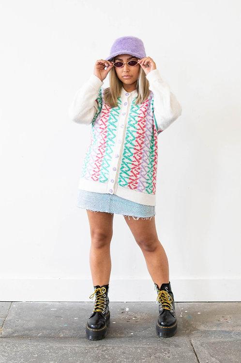 Pastel Pattern Knitted Cardigan