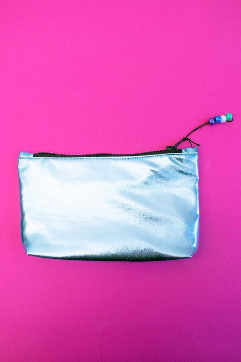 Metallic Sky Blue Make-up Bag