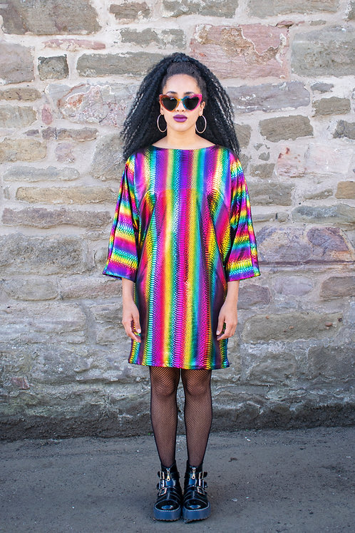 Dreamland Metallic Rainbow Batwing Dress With Crocodile Texture