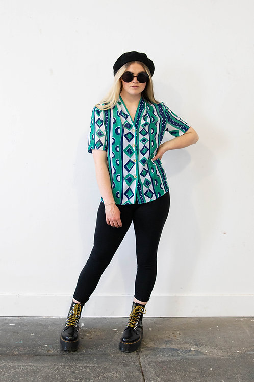 Stripe Geometric Sheer Shirt
