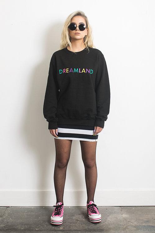 Dreamland Luxury Embroidered Oversized Black Sweatshirt