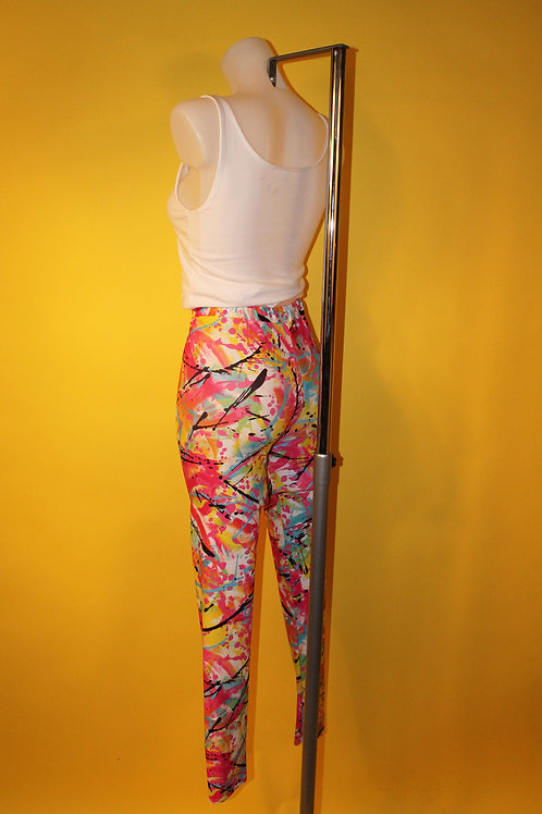 1980s Vintage Colour Splattered Leggings