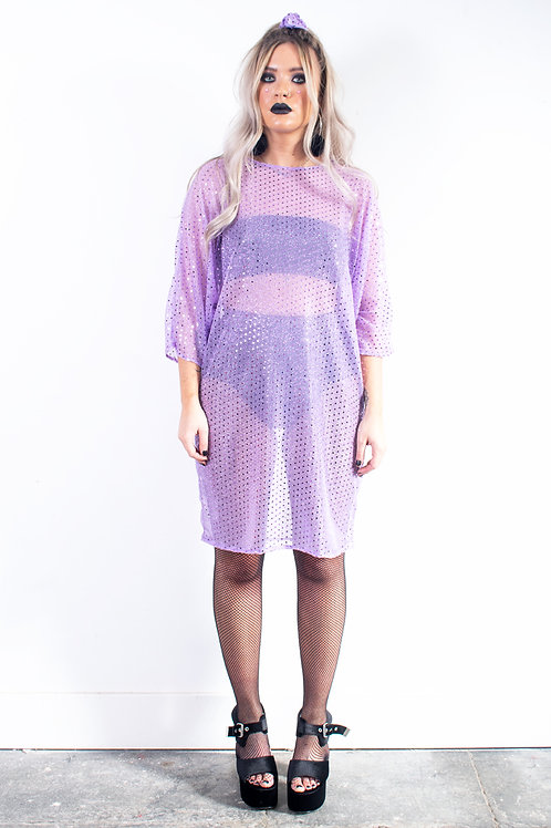 Lilac Sequin Batwing Dress