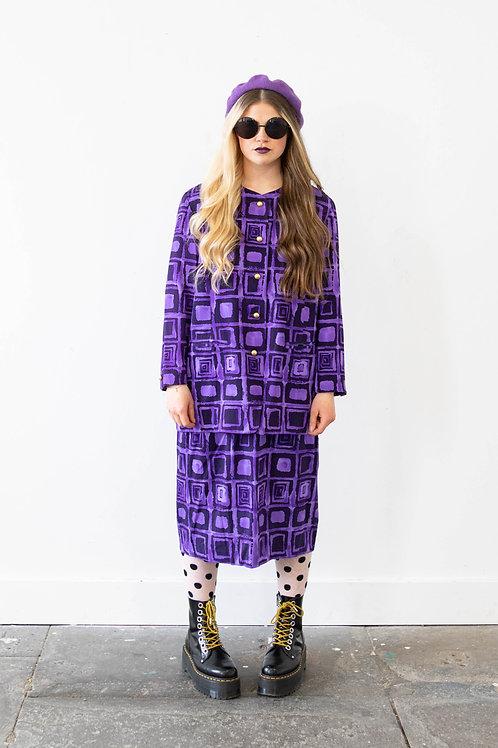 Purple Skirt Suit in Geometric Print