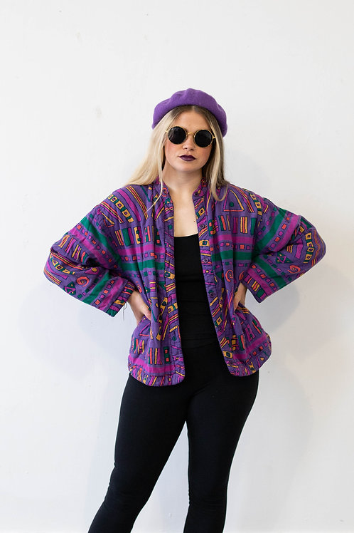Purple Jacket in Geometric Aztec Print