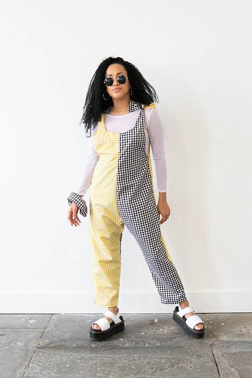 Medium-Scale Gingham Black and Yellow Colour Block Jumpsuit