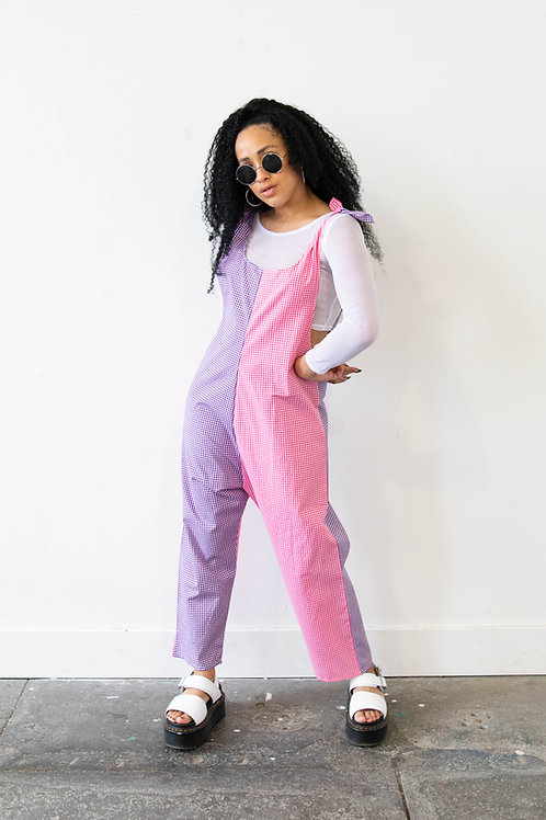 Small-Scale Gingham Purple and Pink Colour Block Jumpsuit