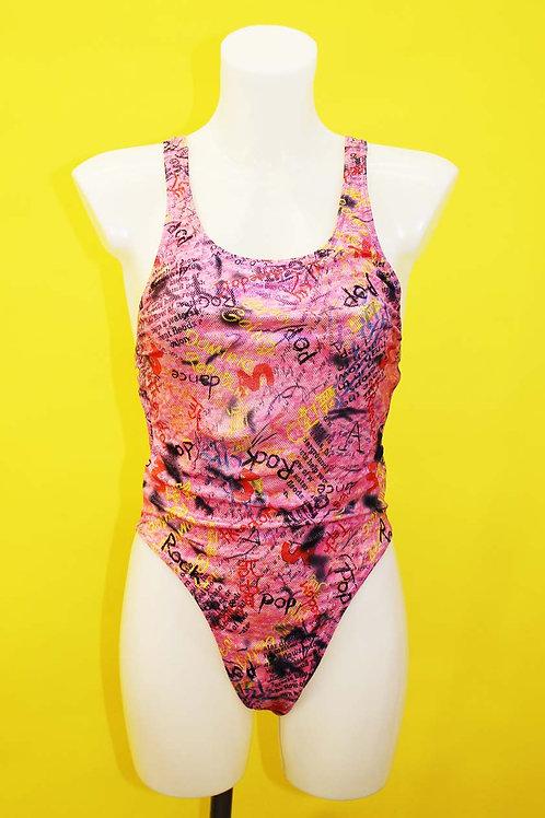 High Leg Pink Graffiti Swimsuit