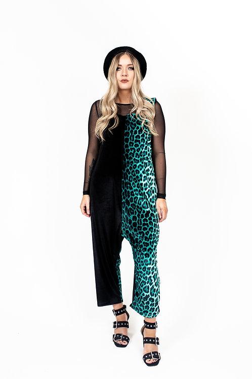 Ocean Green Leopard Print Jumpsuit