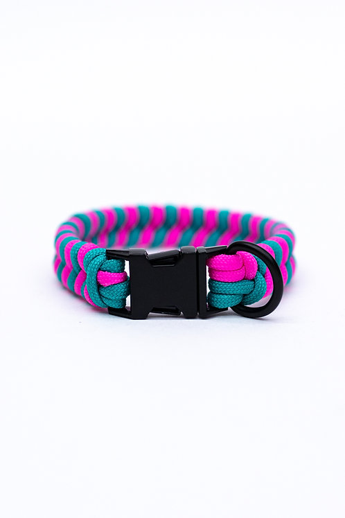 """Dreamland Doggy X Daft Pup 9"""" Pink And Turquoise Collar"""