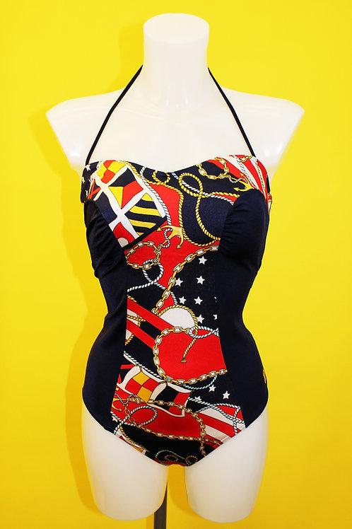 Sailor Print Navy Blue Swimsuit