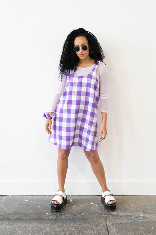 Large-Scale Gingham Purple and Pink Colour Block Swing Dress – Reversible