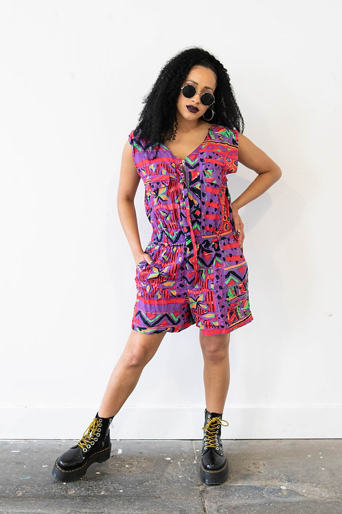 Playsuit in Vibrant Abstract Aztec Print