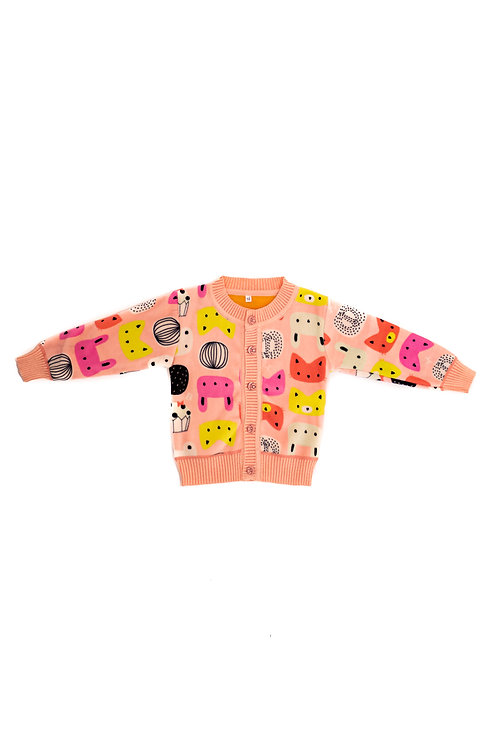 Baby Pink Abstract Animal Cardigan