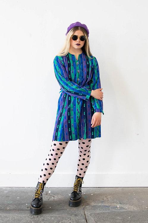 Mini Dress in Geometric Stripe Print