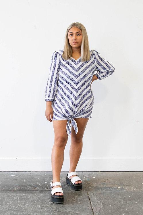 Animal Print Stripe Shirt Dress