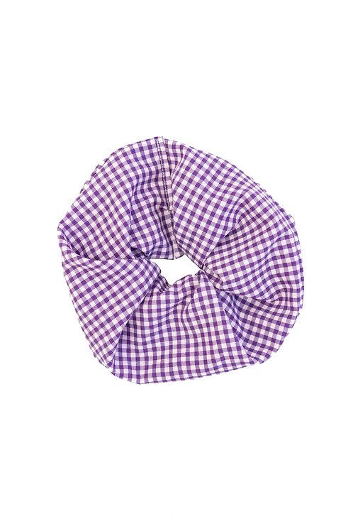 Small-Scale Gingham Scrunchie Purple
