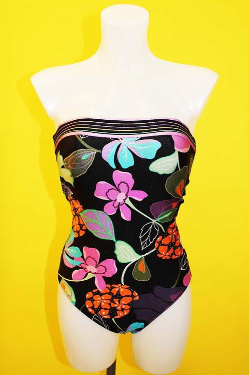 Black Floral Bandeau Swimsuit