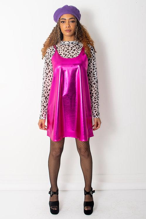 Metallic Cerise Pink Swing Dress