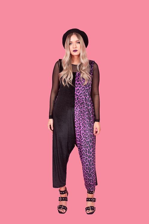 Deep Purple Leopard Print Jumpsuit