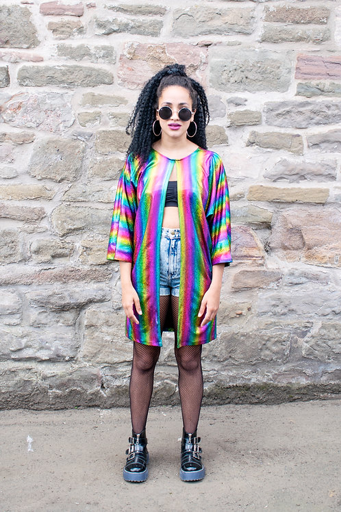 Dreamland Metallic Rainbow Kimono In Stripe