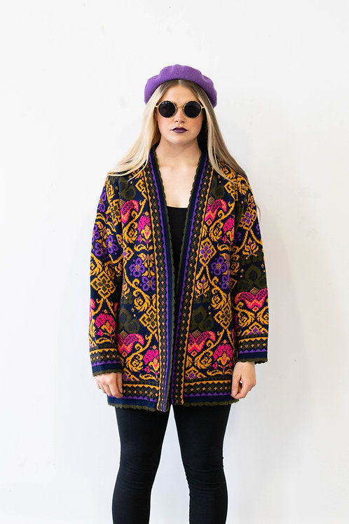 Floral Grandpa Knitted Cardigan