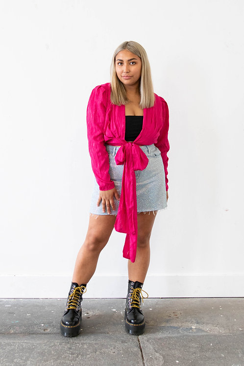 Hot Pink Tie Front Blouse