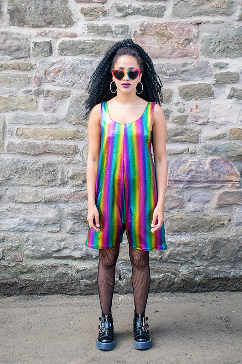 Dreamland Metallic Rainbow Playsuit In Stripe