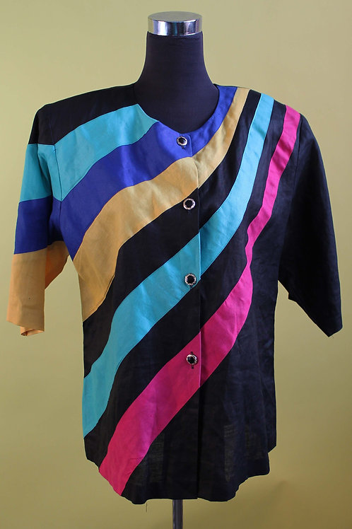 1980s Vintage Bold Striped Jacket