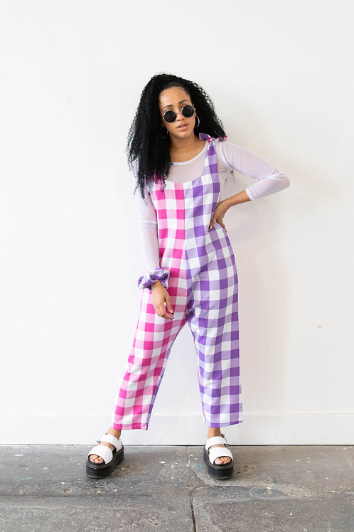 Large-Scale Gingham Purple and Pink Colour Block Jumpsuit
