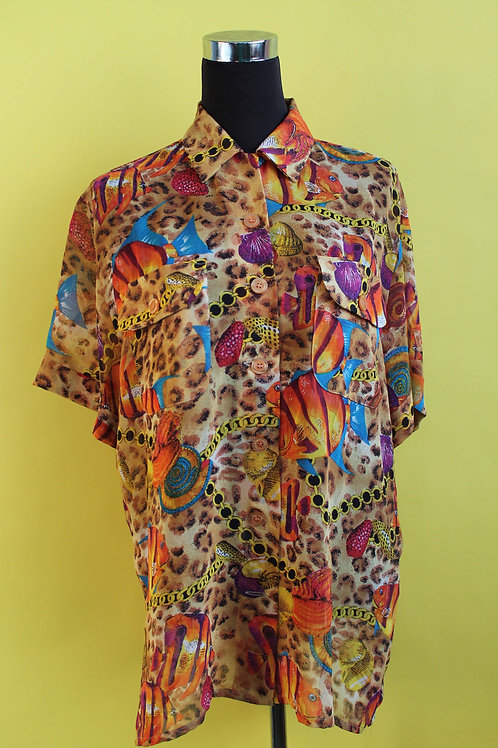 1980s Vintage Graphic Sheer Shirt