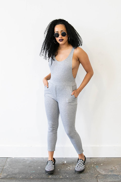 Grey Stripe Cotton Jumpsuit