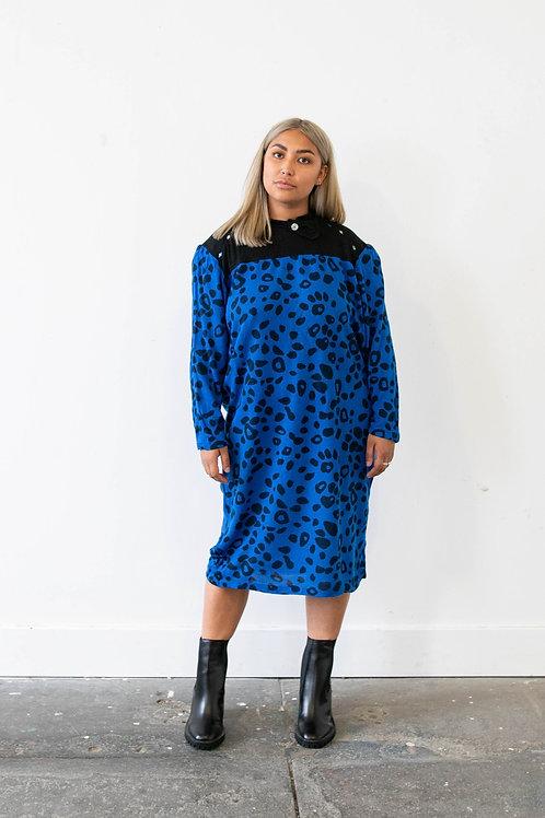 Blue Leopard Print Jumper Dress