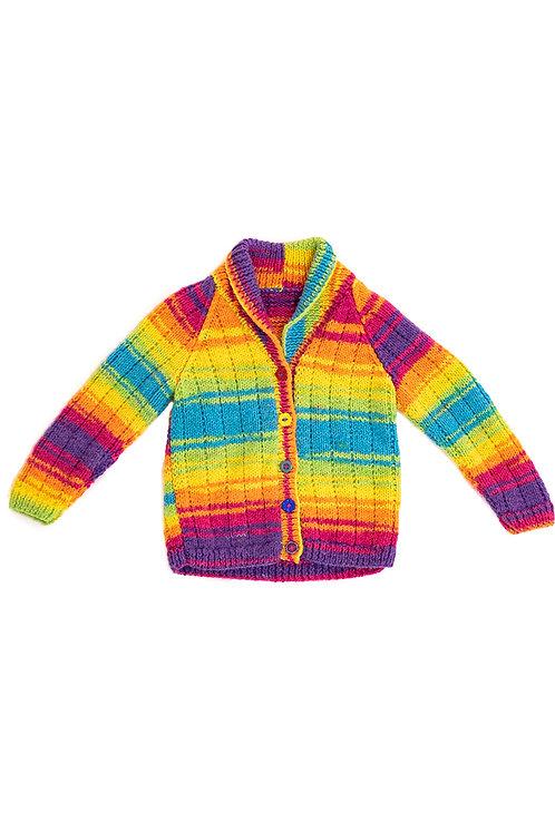 Bright rainbow woollen baby cardigan
