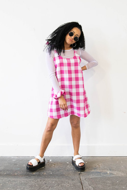 Large-Scale Gingham Pink Colour Block Swing Dress – All Pink