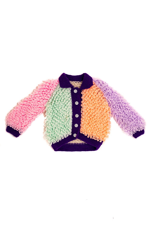 Colour block loopy knitted Cardigan